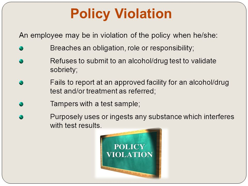 Testing Procedures Post Incident  Generally an incident occurs to trigger an investigation  Post Incident Testing is used to rule out potential cause of a significant event such as: × Fatality; × An injury to self, coworkers or general public; × Damage to Company property or other's property; × Significant environmental damages.