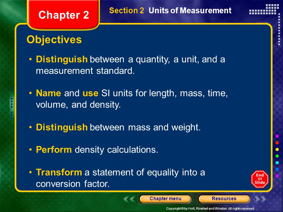 Copyright © by Holt, Rinehart and Winston. All rights reserved. ResourcesChapter menu Objectives Distinguish between a quantity, a unit, and a measure