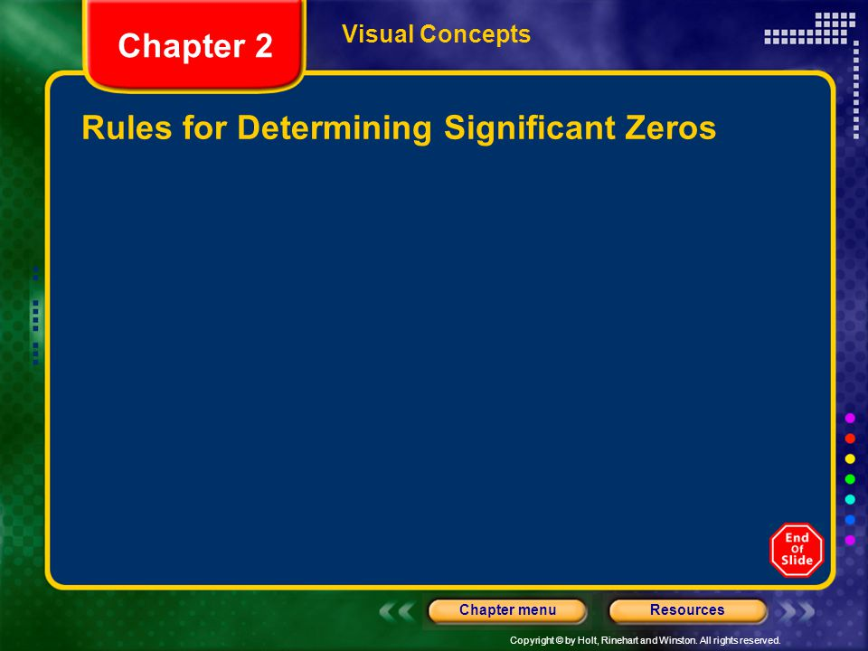 Copyright © by Holt, Rinehart and Winston. All rights reserved. ResourcesChapter menu Visual Concepts Rules for Determining Significant Zeros Chapter