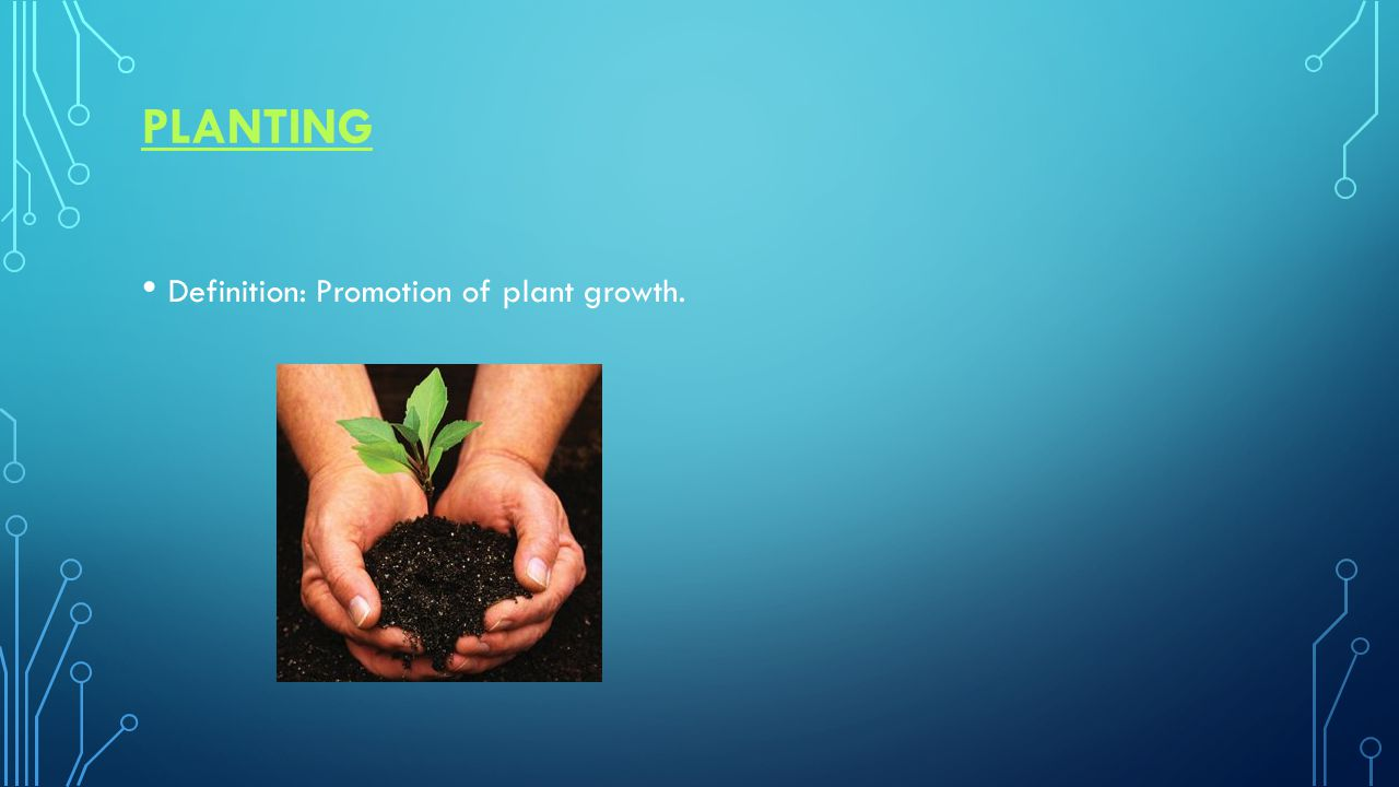 PLANTING Definition: Promotion of plant growth.