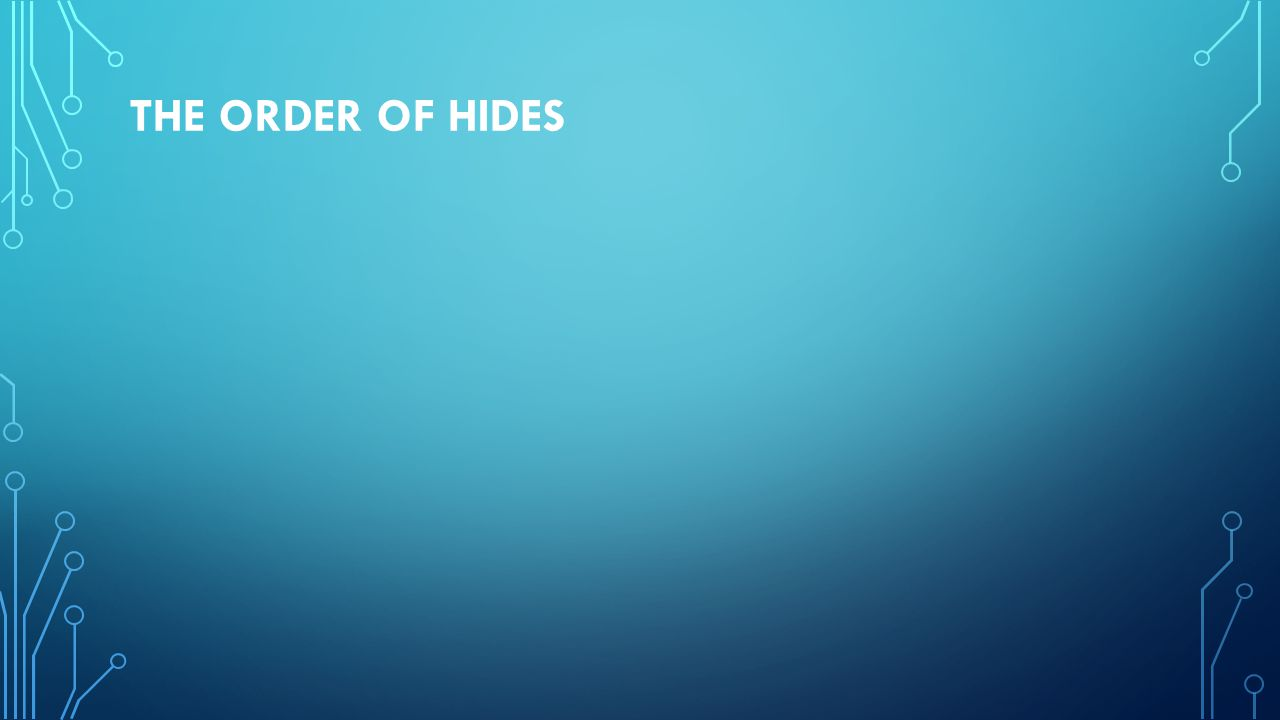 THE ORDER OF HIDES