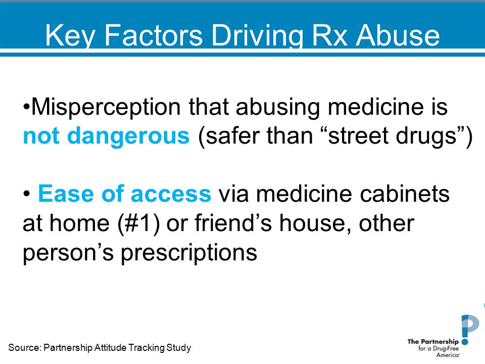"""Key Factors Driving Rx Abuse Misperception that abusing medicine is not dangerous (safer than """"street drugs"""") Ease of access via medicine cabinets at"""