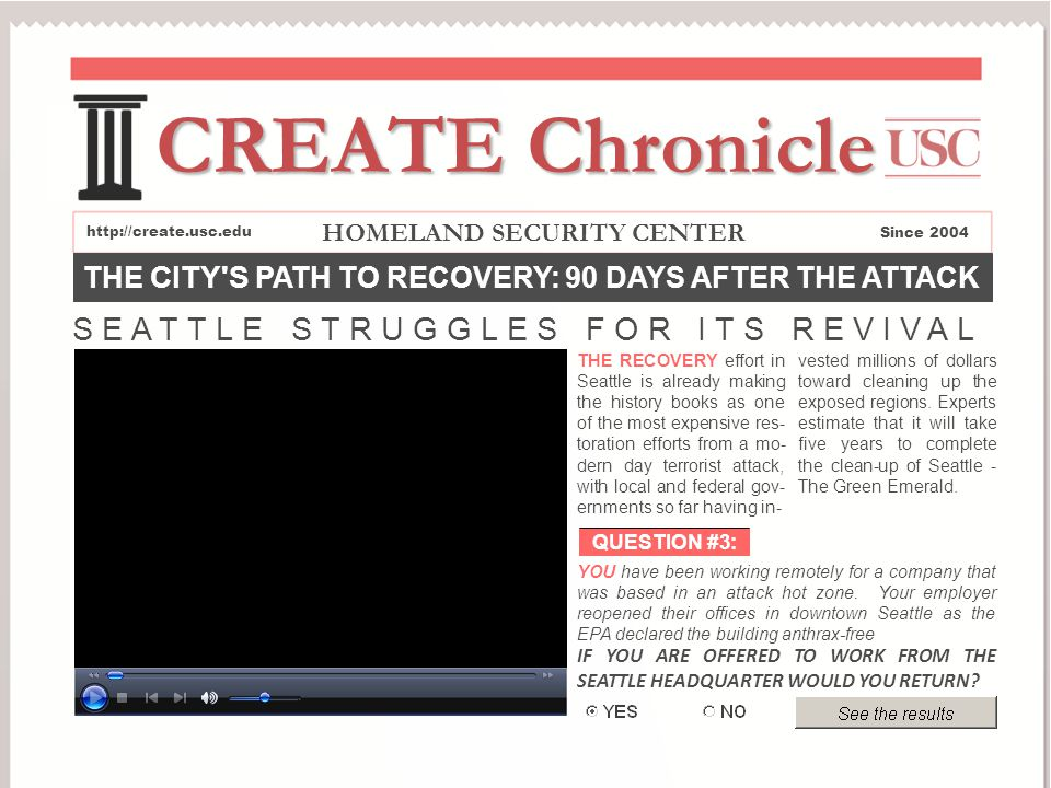 THE CITY S PATH TO RECOVERY: 90 DAYS AFTER THE ATTACK http://create.usc.edu CREATE Chronicle Since 2004 HOMELAND SECURITY CENTER SEATTLE STRUGGLES FOR ITS REVIVAL YOU have been working remotely for a company that was based in an attack hot zone.