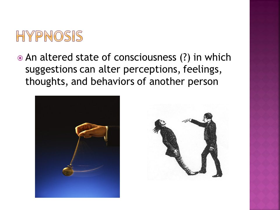  An altered state of consciousness (?) in which suggestions can alter perceptions, feelings, thoughts, and behaviors of another person
