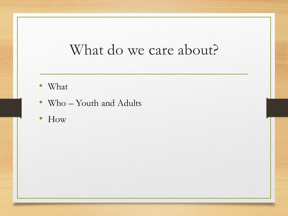 What do we care about What Who – Youth and Adults How