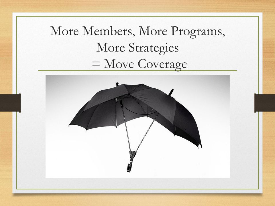 More Members, More Programs, More Strategies = Move Coverage