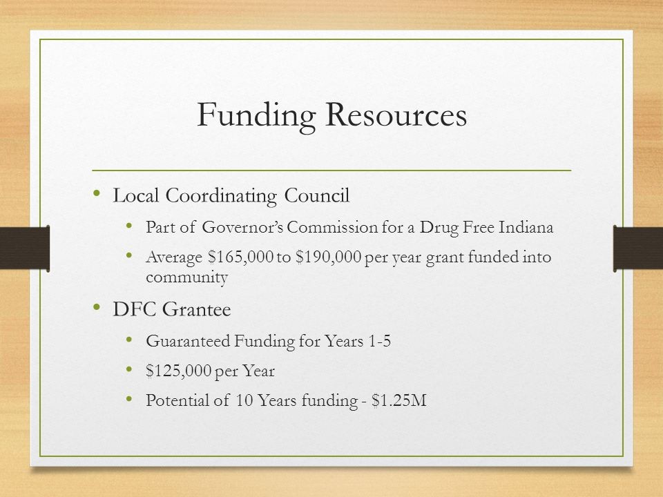 Funding Resources Local Coordinating Council Part of Governor's Commission for a Drug Free Indiana Average $165,000 to $190,000 per year grant funded into community DFC Grantee Guaranteed Funding for Years 1-5 $125,000 per Year Potential of 10 Years funding - $1.25M