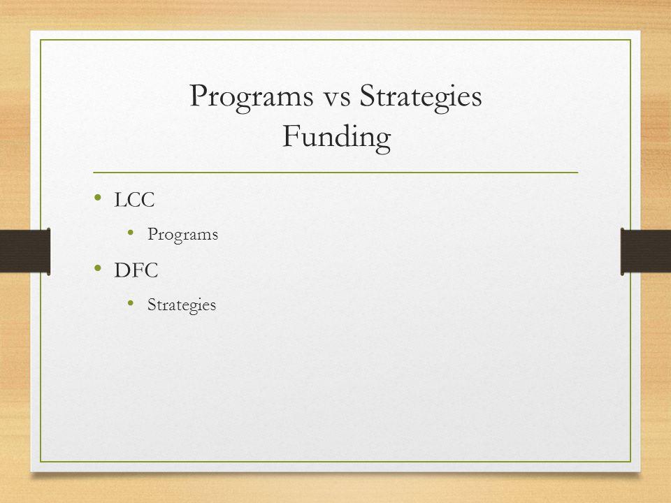 Programs vs Strategies Funding LCC Programs DFC Strategies