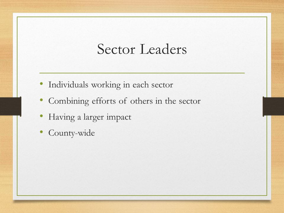 Sector Leaders Individuals working in each sector Combining efforts of others in the sector Having a larger impact County-wide