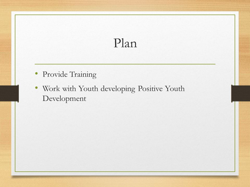 Plan Provide Training Work with Youth developing Positive Youth Development