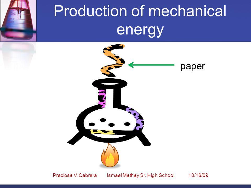 Production of mechanical energy Preciosa V. Cabrera Ismael Mathay Sr. High School 10/16/09 paper