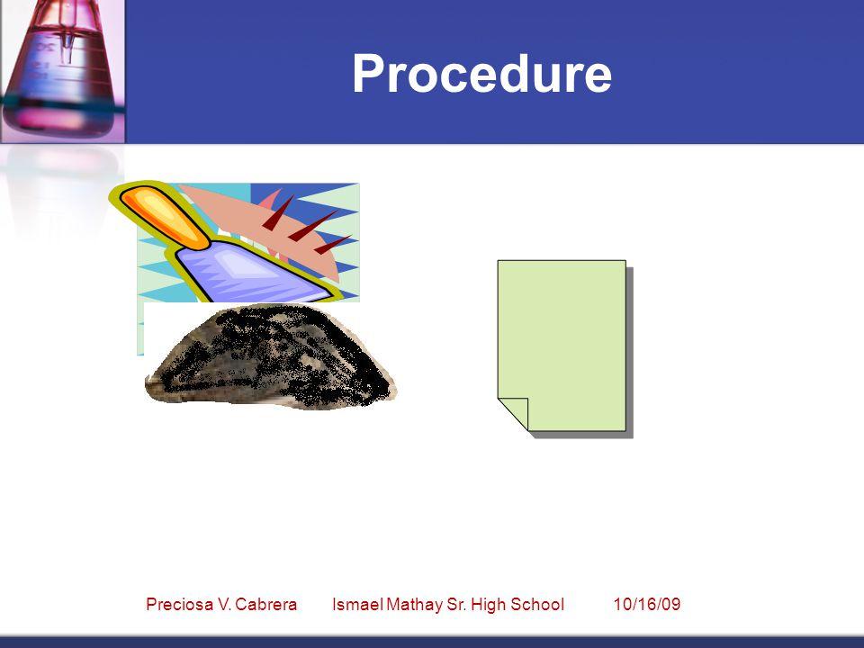 Procedure Preciosa V. Cabrera Ismael Mathay Sr. High School 10/16/09