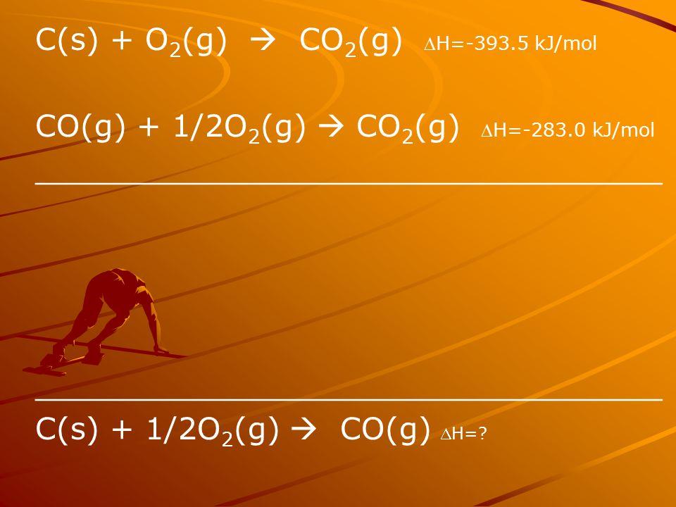 C(s) + O 2 (g)  CO 2 (g) H=-393.5 kJ/mol CO(g) + 1/2O 2 (g)  CO 2 (g) H=-283.0 kJ/mol _________________________________ C(s) + 1/2O 2 (g)  CO(g)