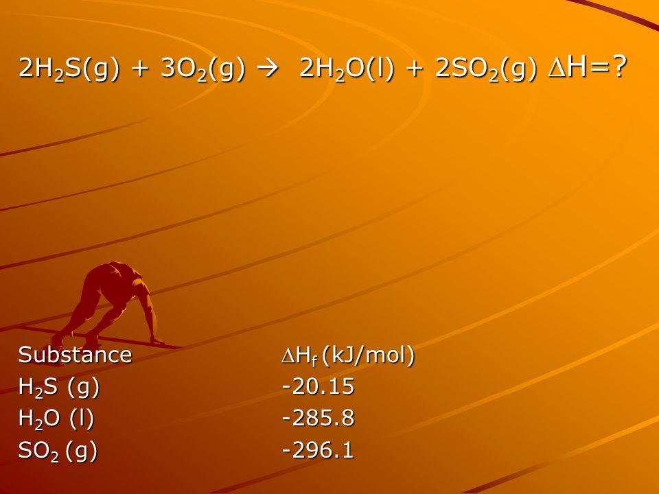2H 2 S(g) + 3O 2 (g)  2H 2 O(l) + 2SO 2 (g) H=? SubstanceH f (kJ/mol) H 2 S (g)-20.15 H 2 O (l)-285.8 SO 2 (g)-296.1
