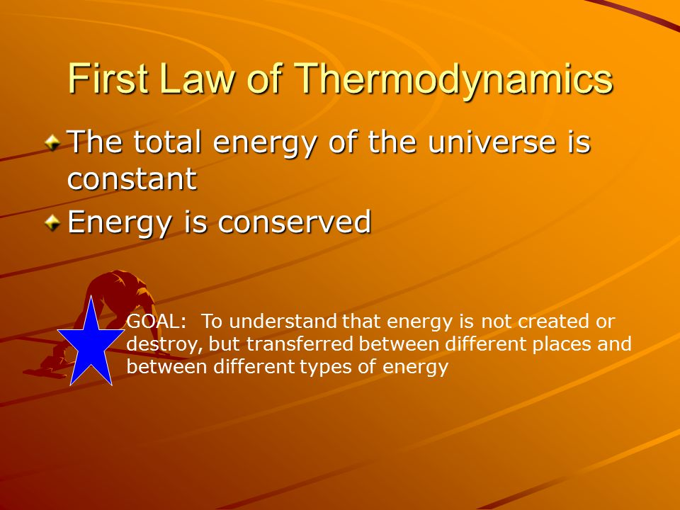 First Law of Thermodynamics The total energy of the universe is constant Energy is conserved GOAL: To understand that energy is not created or destroy, but transferred between different places and between different types of energy