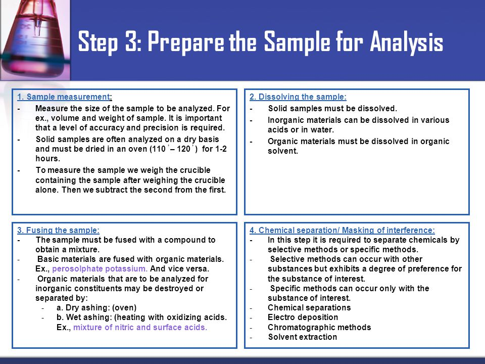 1.Sample measurement: -Measure the size of the sample to be analyzed.