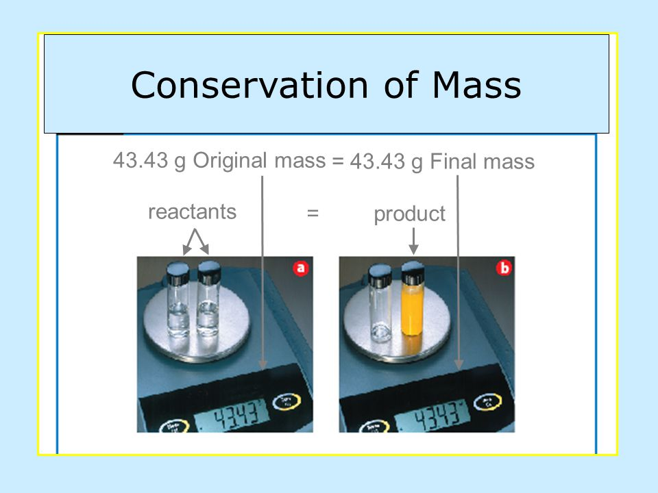 reactants = product 43.43 g Original mass = 43.43 g Final mass Conservation of Mass