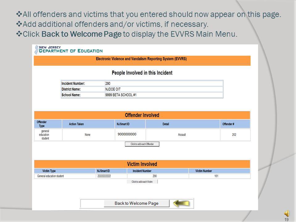 Entering victim information 18