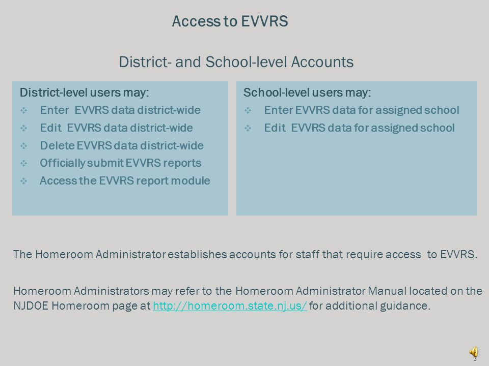 As a result of this training, participants will understand how to:  Access the Electronic Violence and Vandalism Reporting System (EVVRS);  Enter incidents of violence; vandalism; substance and weapons offenses; and harassment, intimidation and bullying (HIB) into the EVVRS;  Enter suspensions of students with disabilities for other reasons into the EVVRS;  Edit and delete EVVRS incidents; and  Enter EVVRS data for official submission.