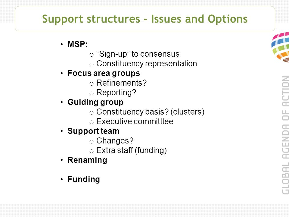 Support structures - Issues and Options MSP: o Sign-up to consensus o Constituency representation Focus area groups o Refinements.