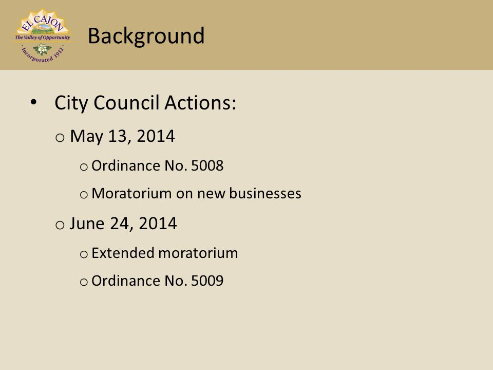 City Council Actions: o May 13, 2014 o Ordinance No.