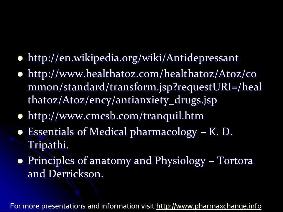 http://en.wikipedia.org/wiki/Antidepressant http://en.wikipedia.org/wiki/Antidepressant http://www.healthatoz.com/healthatoz/Atoz/co mmon/standard/transform.jsp?requestURI=/heal thatoz/Atoz/ency/antianxiety_drugs.jsp http://www.healthatoz.com/healthatoz/Atoz/co mmon/standard/transform.jsp?requestURI=/heal thatoz/Atoz/ency/antianxiety_drugs.jsp http://www.cmcsb.com/tranquil.htm http://www.cmcsb.com/tranquil.htm Essentials of Medical pharmacology – K.