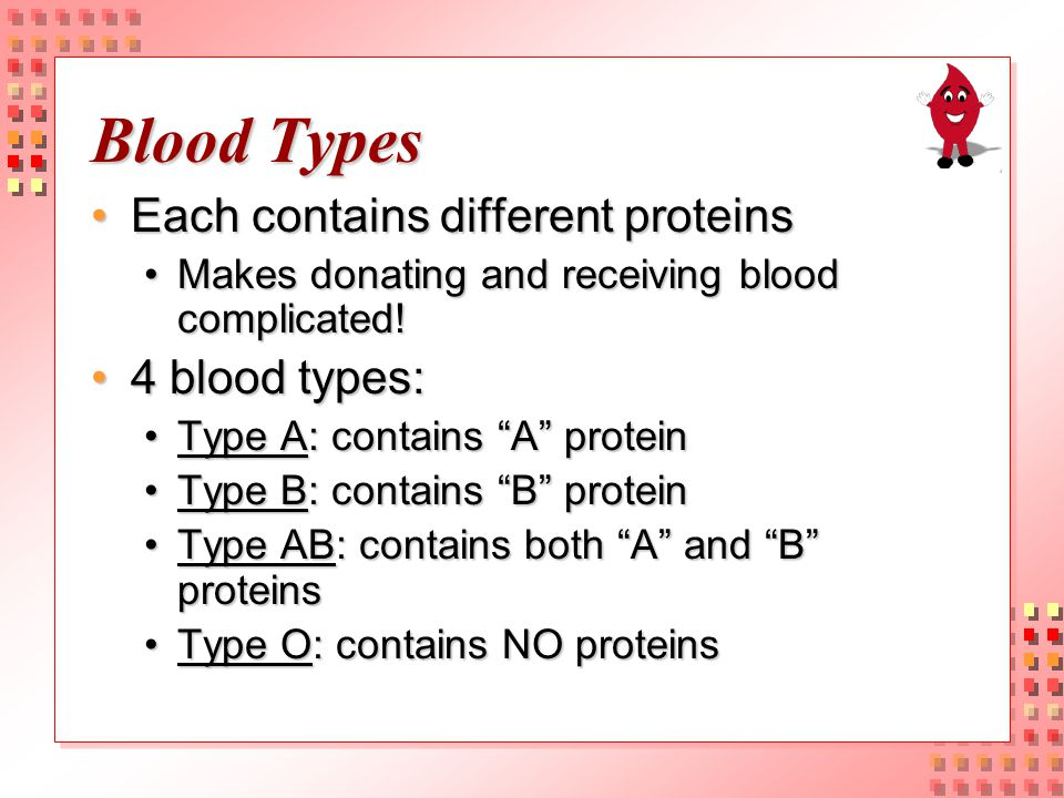 Blood Types: Donating and Receiving Type A:Type A: Donates to: A AND ABDonates to: A AND AB Receives from: A or OReceives from: A or O Type B:Type B: Donates to: B AND ABDonates to: B AND AB Receives from: B or OReceives from: B or O Type AB:Type AB: Donates to: AB onlyDonates to: AB only Receives from: A, B, AB, or OReceives from: A, B, AB, or O UNIVERSAL RECIPIENT!UNIVERSAL RECIPIENT.