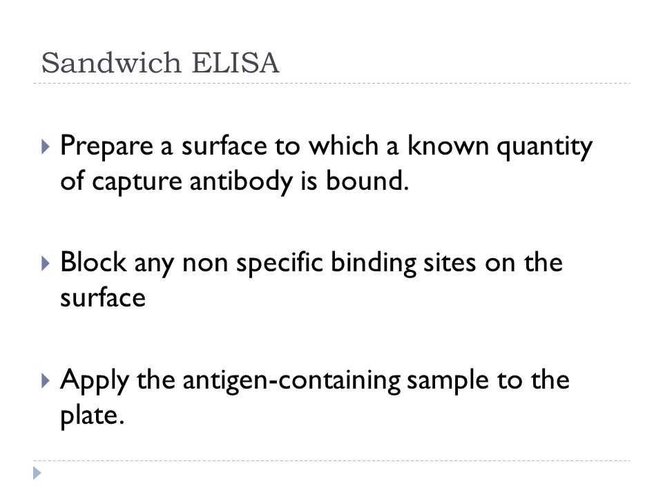 Sandwich ELISA  Prepare a surface to which a known quantity of capture antibody is bound.
