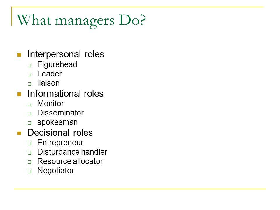 Interpersonal roles  Figurehead  Leader  liaison Informational roles  Monitor  Disseminator  spokesman Decisional roles  Entrepreneur  Disturbance handler  Resource allocator  Negotiator What managers Do