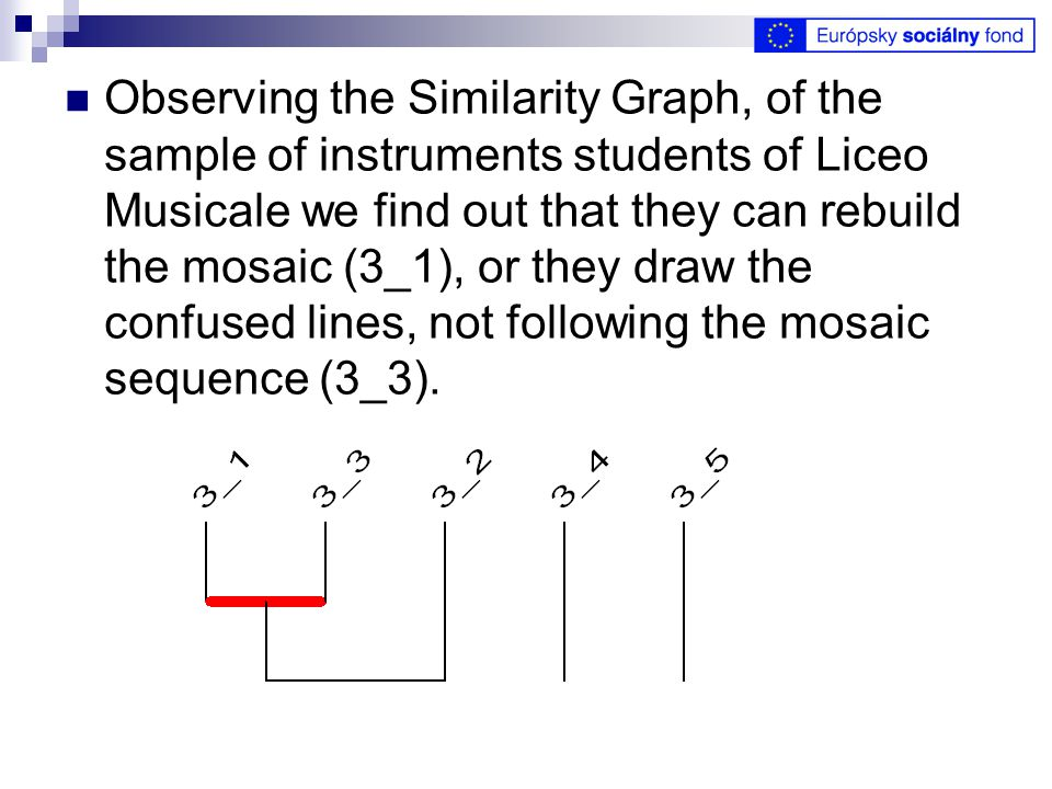 Observing the Similarity Graph, of the sample of instruments students of Liceo Musicale we find out that they can rebuild the mosaic (3_1), or they draw the confused lines, not following the mosaic sequence (3_3).