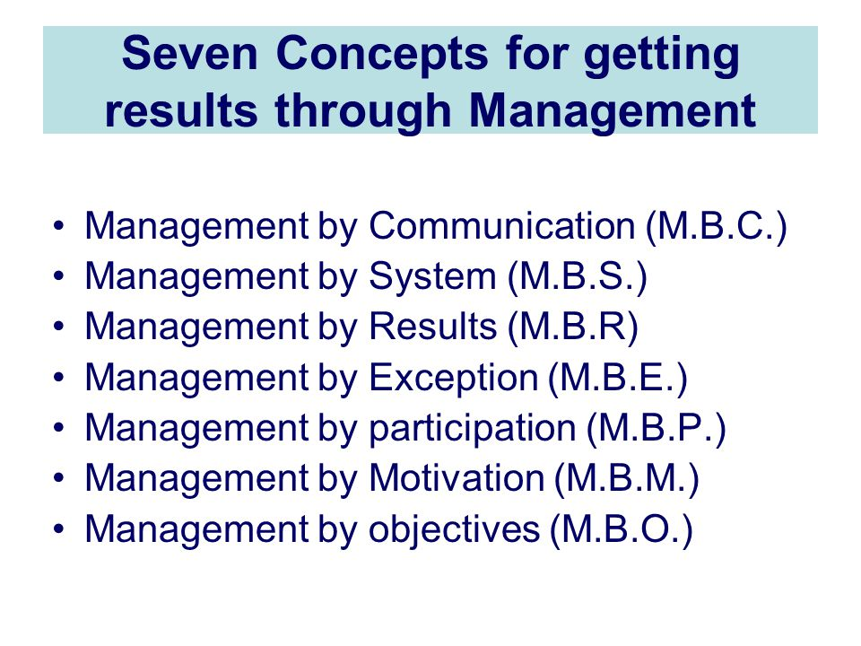 Seven Concepts for getting results through Management Management by Communication (M.B.C.) Management by System (M.B.S.) Management by Results (M.B.R) Management by Exception (M.B.E.) Management by participation (M.B.P.) Management by Motivation (M.B.M.) Management by objectives (M.B.O.)