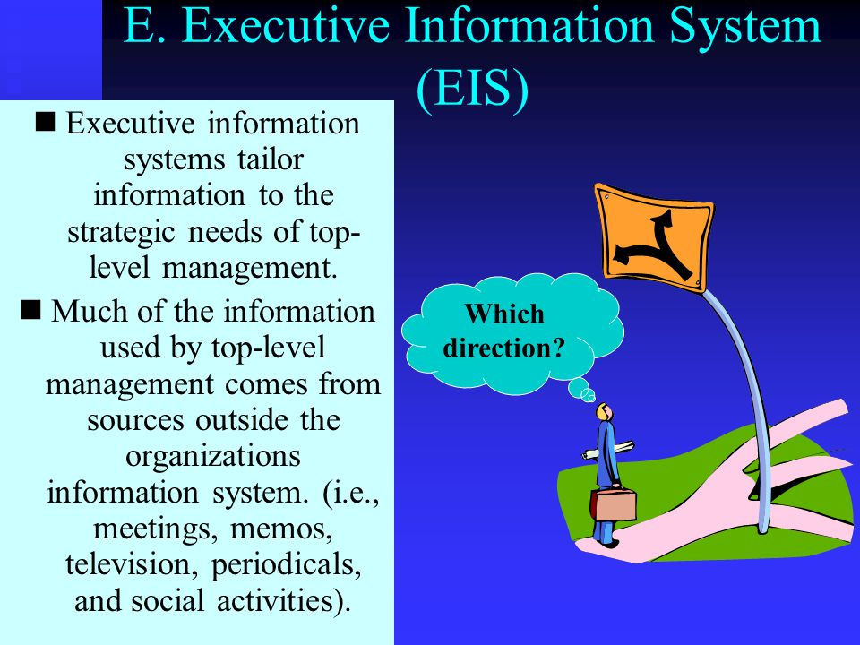 D. Expert Systems (ES) Emulates an experts decision making process to provide a decision. Different from DSS which only provides information for makin