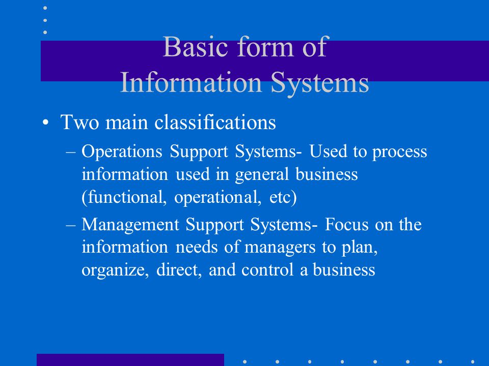 Basic form of Information Systems Two main classifications –Operations Support Systems- Used to process information used in general business (function