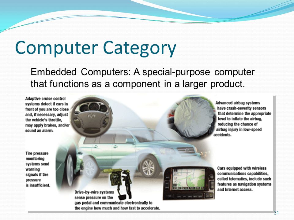 Computer Category Embedded Computers: A special-purpose computer that functions as a component in a larger product.