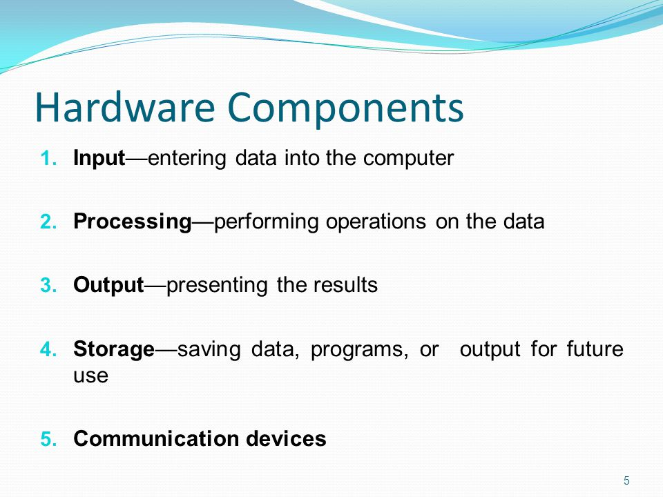 Hardware Components 1. Input—entering data into the computer 2.