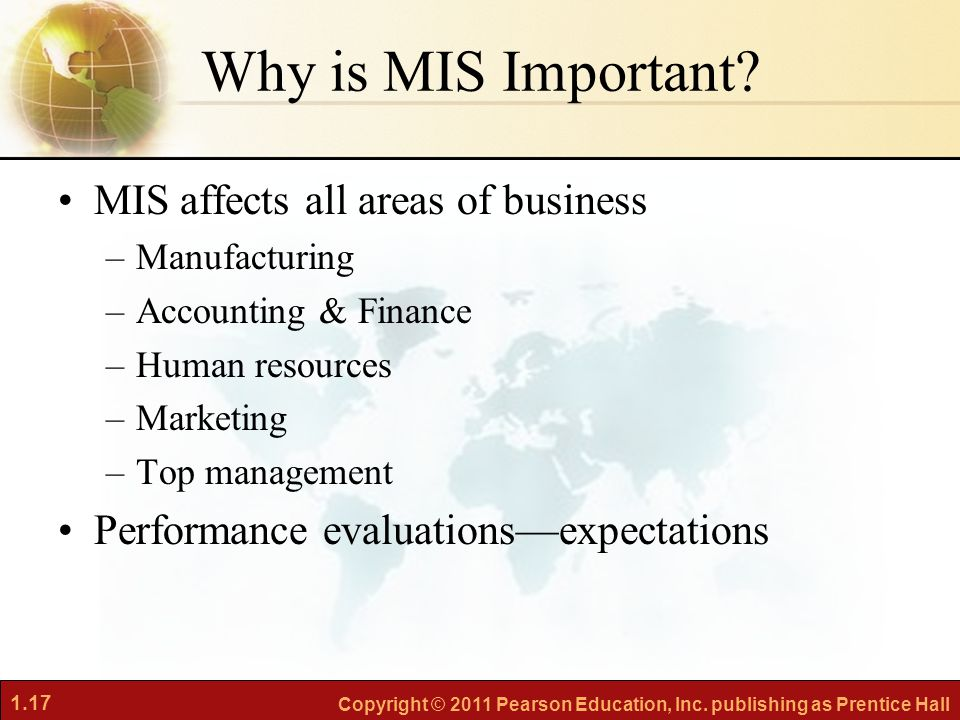 1.17 Copyright © 2011 Pearson Education, Inc.publishing as Prentice Hall Why is MIS Important.