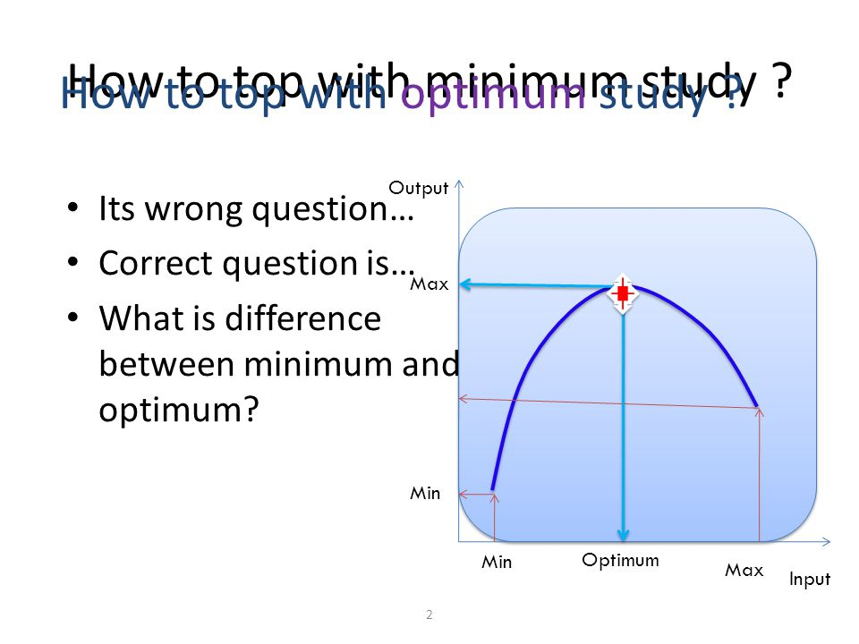 Its wrong question… Correct question is… What is difference between minimum and optimum.