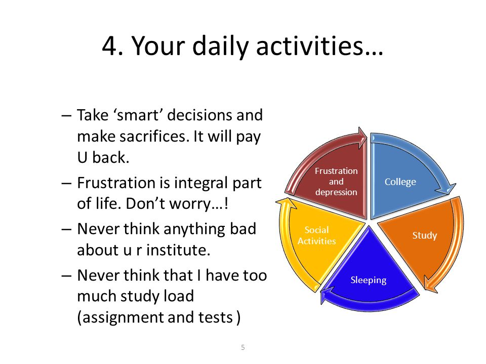 4.Your daily activities… – Take 'smart' decisions and make sacrifices.