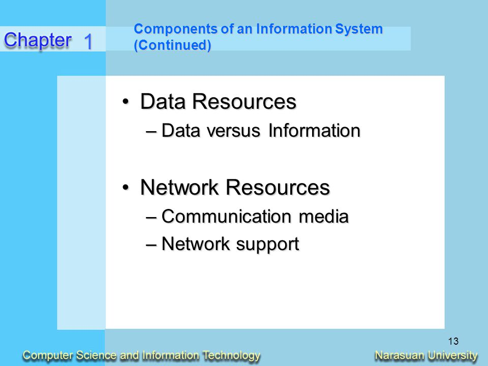 13 Components of an Information System (Continued) Data ResourcesData Resources –Data versus Information Network ResourcesNetwork Resources –Communica