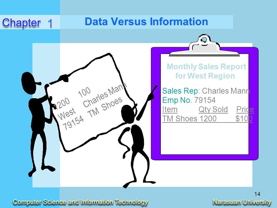 14 Data Versus Information 1 1200100 WestCharles Mann 79154TM Shoes Monthly Sales Report for West Region Sales Rep: Charles Mann Emp No. 79154 Item Qt