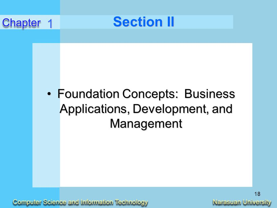 18 Section II Foundation Concepts: Business Applications, Development, and ManagementFoundation Concepts: Business Applications, Development, and Mana
