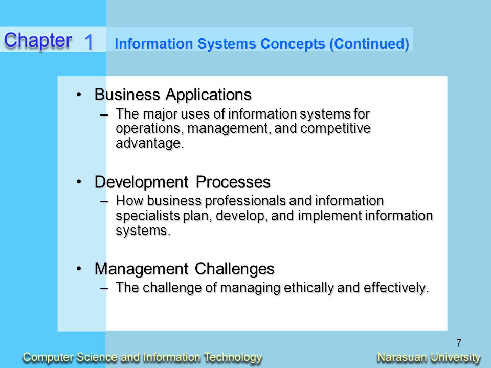 7 Information Systems Concepts (Continued) Business ApplicationsBusiness Applications –The major uses of information systems for operations, managemen