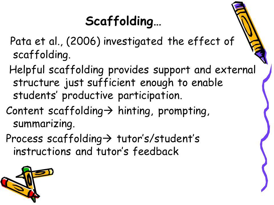 Scaffolding… Pata et al., (2006) investigated the effect of scaffolding.