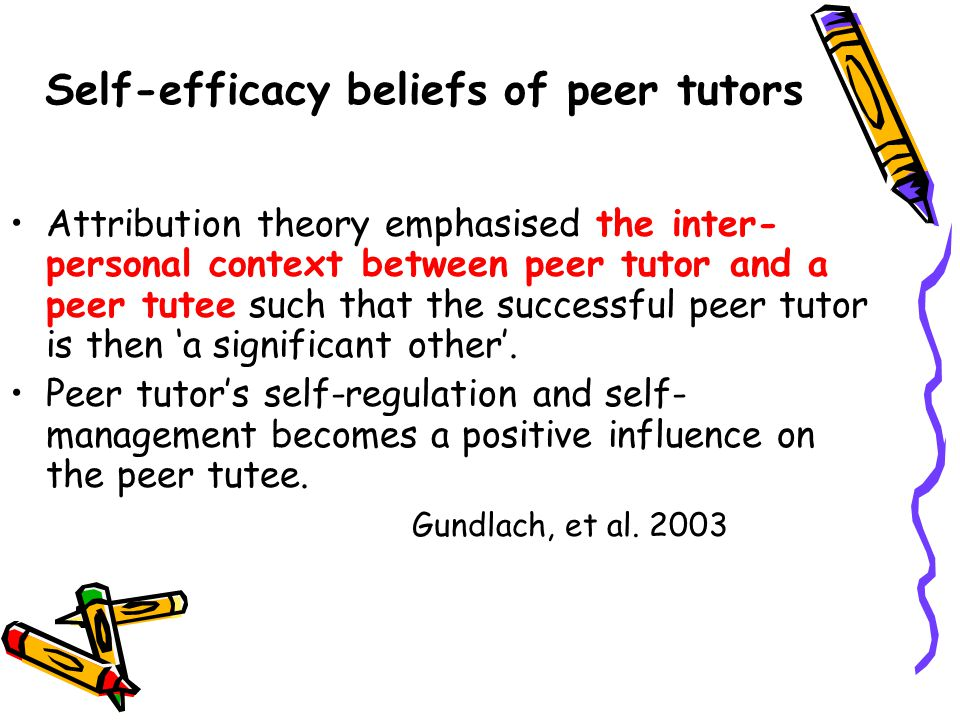 Self-efficacy beliefs of peer tutors Attribution theory emphasised the inter- personal context between peer tutor and a peer tutee such that the successful peer tutor is then 'a significant other'.