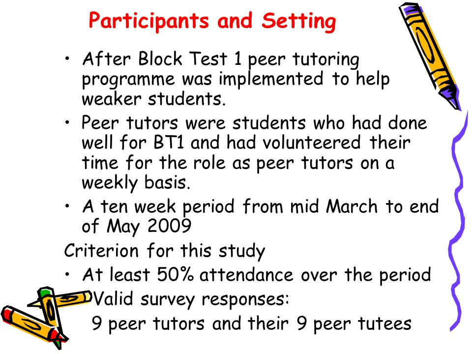 Participants and Setting After Block Test 1 peer tutoring programme was implemented to help weaker students. Peer tutors were students who had done we