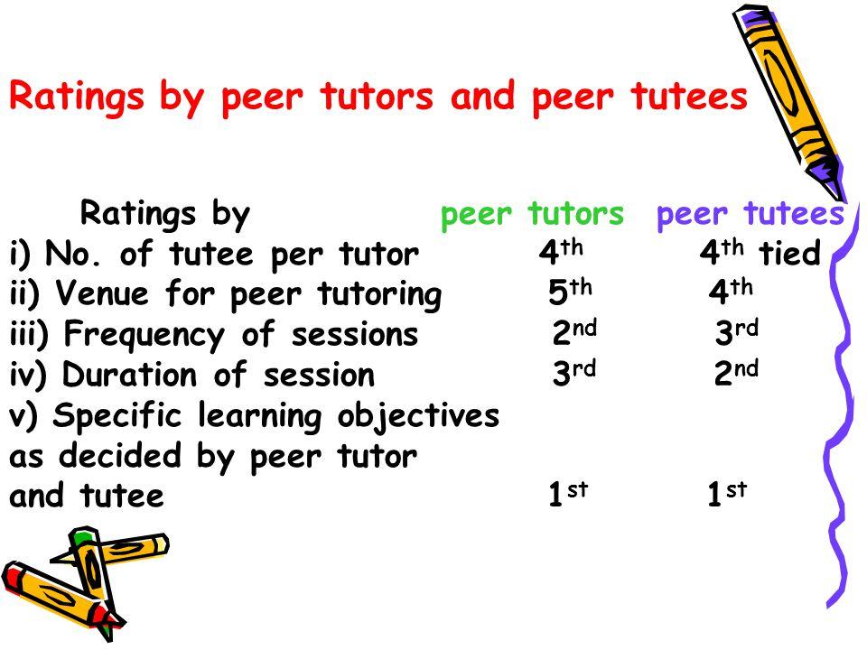 Ratings by peer tutors and peer tutees Ratings by peer tutors peer tutees i) No.
