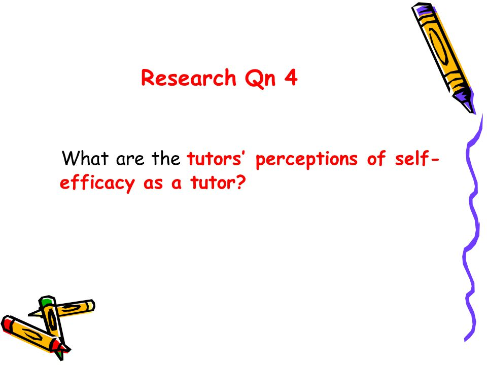 Research Qn 4 What are the tutors' perceptions of self- efficacy as a tutor?