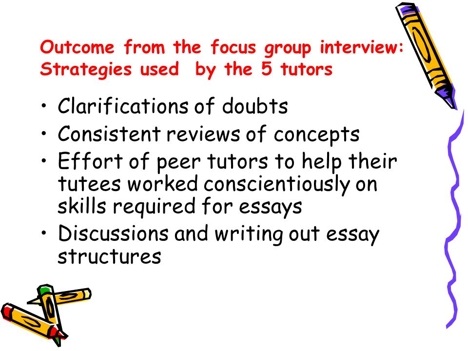 Outcome from the focus group interview: Strategies used by the 5 tutors Clarifications of doubts Consistent reviews of concepts Effort of peer tutors to help their tutees worked conscientiously on skills required for essays Discussions and writing out essay structures
