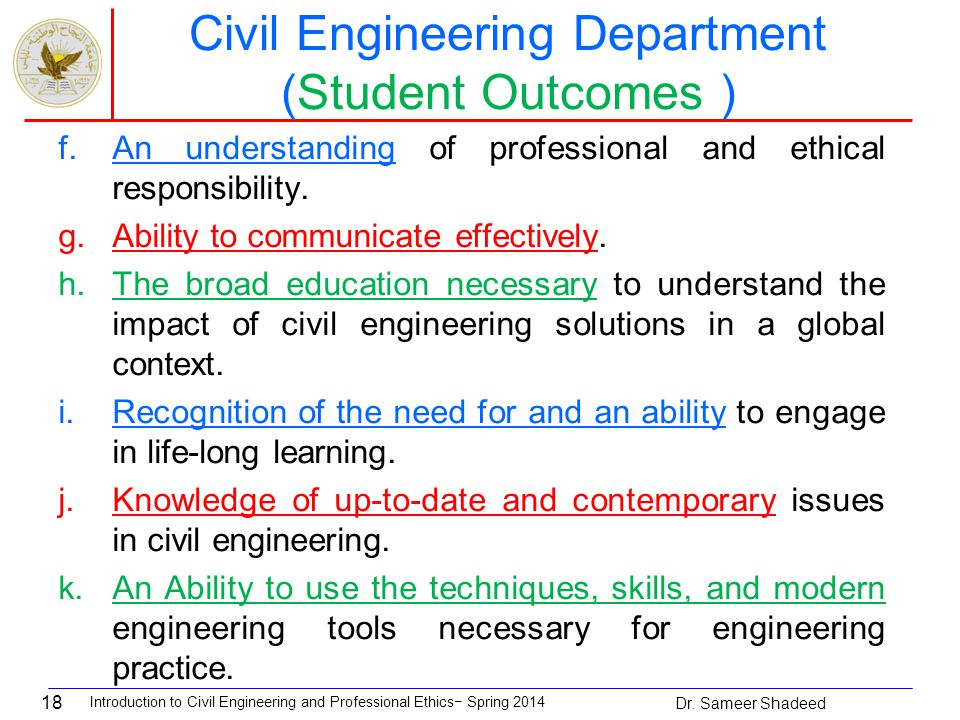 18 Civil Engineering Department (Student Outcomes ) f.An understanding of professional and ethical responsibility.
