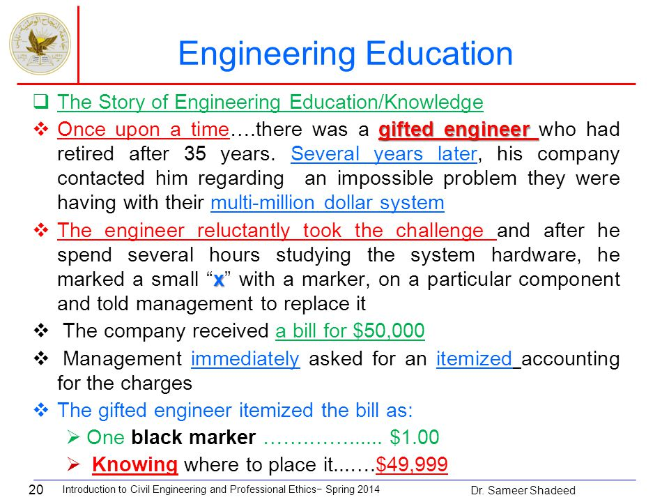20  The Story of Engineering Education/Knowledge gifted engineer  Once upon a time….there was a gifted engineer who had retired after 35 years.